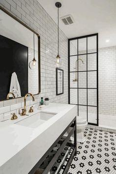 Image result for bathroom shower with black industrial shower doors