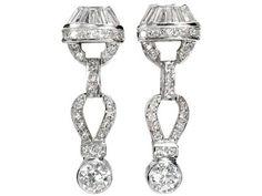 Wonderful Art Deco Diamond Earrings from thethreegraces on Ruby Lane