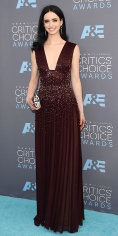 2016 Critics' Choice Awards: KRYSTEN RITTER The Jessica Jones actress chose a plunging embellished gown in a deep oxblood hue.