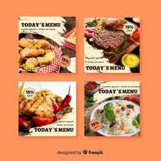 Culinary instagram post collection with ... | Free Vector #Freepik #freevector #banner #food #social-media #instagram Instagram Design, Free Instagram, Instagram Posts, Free Banner, Food Themes, Social Media Design, Free Food, Banners, Vector Free