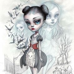 """A Girl and her Ghosts"" by one of THE sweetest, loveliest, most precious people I know, Mab Graves. Oh, her art also happens to make my heart melt, ALWAYS Mab was featured in Issue 009 of ‪#‎beautifulbizarre‬! For all current & back copies please visit our web store at www.beautifulbizarre.net/shop"