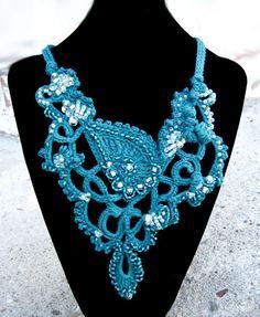 Beaded Crocheted Necklace Cotton Yarn and by TrishDesignsJewelry, $189.00