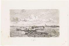 Cornelis Springer | Overstroomd landschap tussen Oss en Lith, Cornelis Springer, 1855 | De weg tussen Oss en Lith in een overstroomd landschap tijdens de watersnood in maart 1855.