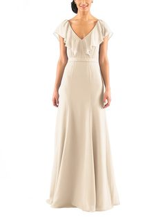 DescriptionJenny YooCeciliaFulllength bridesmaid dressV neck with flutter cap sleevesDeep v back detailNatural waistlineChiffon