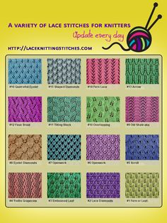 A collection of lace knitting stitches