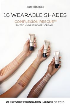 Easy to apply with just the right amount of coverage for a dewy, natural-looking, radiant glow. The best of a BB, a CC, and a tinted moisturizer, Complexion Rescue™ by bareMinerals makes your skin like look skin, only better. No Parabens. No Fragrance. Non-Comedogenic. Hypoallergenic. Complexion Rescue Tinted Hydrating Gel Cream is available in 16 shades on bareMinerals.com.