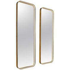 Large Pair of Rectangular Brass and White Hallway Mirrors, Austria, 1950s 1