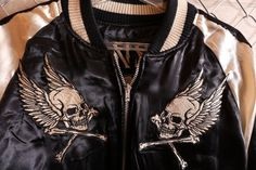 anch-crash: You can buy it only here! Our store comment VANSON バンソンスカル embroidery reversible ska Jean skeleton wing fire American casual bikie men jacket Father's Day present American Casual, Us Store, Fathers Day Presents, Satin Jackets, Global Market, Skeleton, Leather Jacket, Fire, Embroidery
