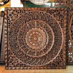 Large Hand carved wall art panel from Thailand. Teak Wood Carving. Perfect for Room Decorating. (6'x6' ft. Extra thick. Light brown colour)