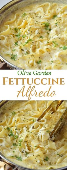 restaurant recipes Creamy delicious Olive Garden Copycat Fettuccine Alfredo recipe is best to fix dinner/lunch,made with alfredo sauce made with cream,butter,cream cheese and parmesan,together with fettuccine makes this restaurant style pasta recipe. Pastas Recipes, Best Pasta Recipes, Lunch Recipes, Chicken Recipes, Cooking Recipes, Healthy Food Recipes, Good Recipes, Fondue Recipes, Best Italian Recipes