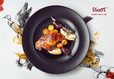 Print and promotional design for Prego and Pinot restaurants Restaurant Advertising, Restaurant Poster, Food Menu Design, Food Branding, Good Food, Yummy Food, Promotional Design, My Best Recipe, Food Presentation