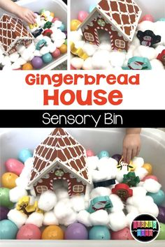 This gingerbread house sensory bin was so fun to make with Easter eggs as gumdrop buttons! Great addition to your Christmas preschool theme! Preschool Christmas Activities, Preschool Math Games, Preschool Ideas, Edible Sensory Play, Sensory Bins, Creative Activities, Activities For Kids, Sensory Activities, Language Activities