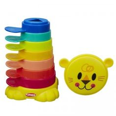 The Stack 'n Stow Cups are a stacking toy which click into place to store for easy on-the-go fun.
