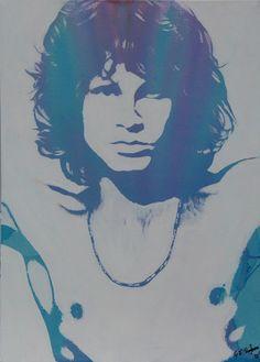 "Gary Hogben; Acrylic, 2013, Painting ""Technicolour Jim Morrison""  $325.00"