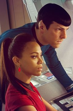Spock & Uhura. I adore these two. Their relationship, Spock and his new bad-boyness, Uhura and her girl-powerness. AH-mazin'