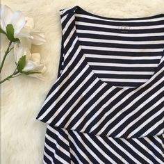Ann Taylor LOFT Striped Ruffle Top Brand-new top from Ann Taylor LOFT. Blue and white stripes with ruffle front. NO TRADES PLEASE LOFT Tops Tank Tops