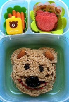Bear face sandwich    #vegan, #Lunchbox, #bento, #EasyLunchBoxes