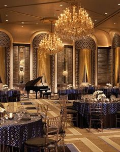 Ballroom at the Waldorf Astoria New York Rehearsal Dinner Venue Hotel Lobby, Astoria New York, New York Hotels, Waldorf Astoria, Ballrooms, Beautiful Hotels, Grand Hotel, Mellow Yellow, Restaurant Bar