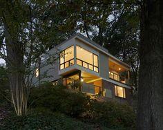 Stunning House Remodel among Trees: Exciting Landscape Sloping Site Lush Vegetations Arlington Ridge