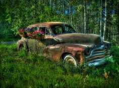 Old car on Takhini River Road - Tim Falkenberg Old Cars, Pretty Pictures, Antique Cars, Photographs, River, Places, Art, Cute Pics, Vintage Cars