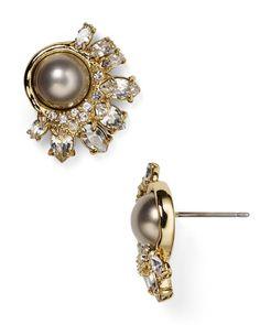 Alexis Bittar Miss Havisham Marquis Faux Pearl Stud Earrings