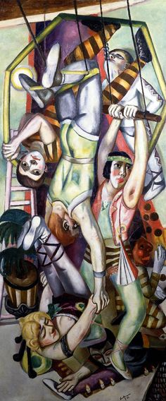 The Trapeze: 1923 by Max Beckmann - Oil on canvas - 196.5 x 84.0 cm - Viewed as part of the Exhibit: The Great War: Art on the Front Line (Toledo Museum of Art, Toledo, OH) (August, 2014)