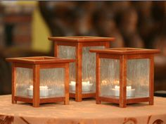 Custom Made Mahogany Candle Holder Lantern Trio