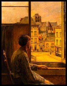 John William Godward, Window Art, Open Window, Illustration Art, Illustrations, Classic Paintings, Old Paintings, Classical Art, Fine Art