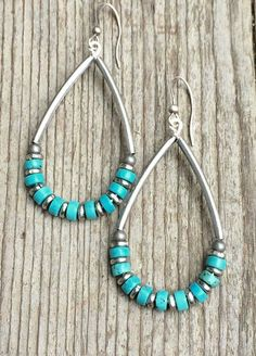 Silver hoop earrings with turquoise, turquoise earrings, turquoise jewelry, boho jewelry, festival jewelry