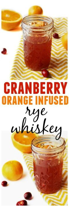 Homemade cranberry orange infused rye whiskey! Make for yourself or as a holiday gift!