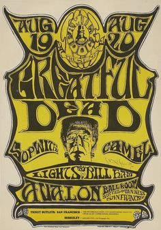 The Grateful Dead - Sopwith Camel, Avalon Ballroom 1966 Poster Art by Stanley Mouse, Poster Hand Signed by Mouse - Grateful Dead Misspelled Rock Posters, Band Posters, Music Posters, Event Posters, Poster Art, Dog Poster, Poster Ideas, Vintage Concert Posters, Vintage Posters