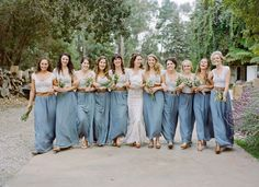 bridesmaids in maxi skirts and belts