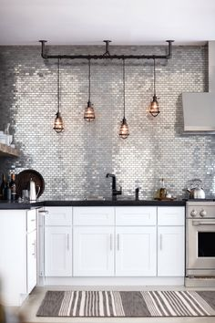 industrial glam with metallic tiles || via designmeetstyle.tumblr.com