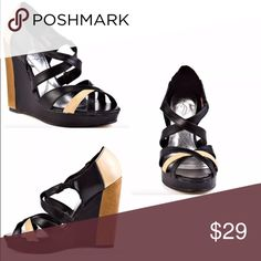 BabyPhat JUNO Black Tan Wedge Heel Strapy Sandal New!  Ships next day. 🎀 Discounts with bundles 🎀 Baby Phat Shoes Heels