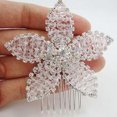 Бесплатная доставка мода цветок листья свадебные аксессуары для волос живота гребень свадьба украшения с жемчугом кристалл ручной волосы гребень
