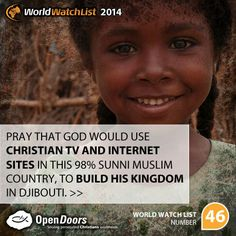 #Djibouti is #46 on the Open Doors 2014 World Watch List, that ranks the top 50 countries in which Christians are being persecuted for their faith.