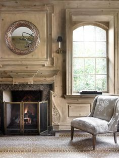 This room doesn't need furniture but the mirror can stay Country Interior, Gray Interior, Interior And Exterior, Interior Design, Fireplace Mantels, Fireplaces, Mantles, Fireplace Mirror, Architecture Details