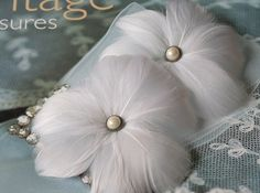 Beautiful handmade set of white goose feather flower hairpins.