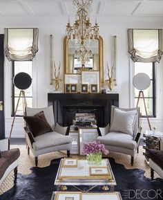 Waffle ceiling traditional fireplace mantle mantel gold gilded gilt mirror ideas side windows georgian home black elle decor gorgeous interior design Elle Decor, Traditional Fireplace Mantle, Black Fireplace, Fireplace Mantel, Living Room Decor, Living Spaces, Small Living, Black And White Living Room, Black White
