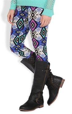 Deb Shops #Legging with Blue #Southwest #Tribal Print $10.00