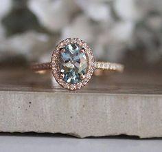 Aquamarine Engagement Ring, Oval 8x6mm Natural Aquamarine 14k Rose Gold and Diamond Halo Ring, Half Eternity Diamond Band, Diamond Halo Ring