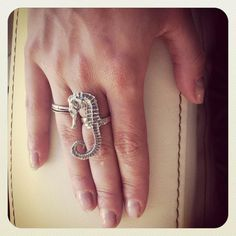 Silver Seahorse Ring by JustineBrooks on Etsy, $119.00