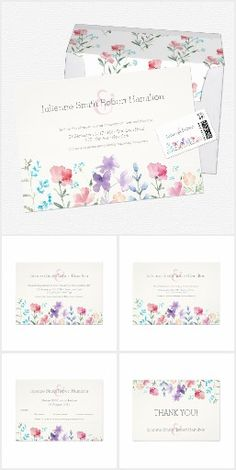 """Pretty Wildflowers   Rustic Wedding Stationery-This rustic botanical wedding suite features an original floral artwork inspired by an iris flower in the field, hand painted by the Spanish artist Olga Perez. All of your details are spelled in a mix of a beautiful, modern and script typography. This suite will be perfect for a rustic or spring wedding.--**EXPLORE an Amazing Collection of  """"Theme Matching Wedding Invitation Sets"""" by Visiting... http://www.zazzle.com/weddinginvitationkit"""