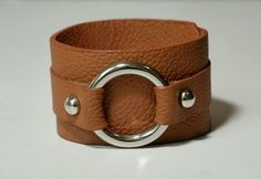 Leather Cuff Leather Bracelet Leather Bangle in Peach Color with Metal O Ring