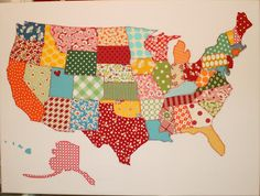 Leftover Quilt - use those large leftover pieces to make this adoreable quilt! Add embroidered names of special cities! Map Quilt, Patch Quilt, Applique Quilts, Quilt Blocks, Cute Quilts, Small Quilts, Scrappy Quilts, Fabric Crafts, Sewing Crafts