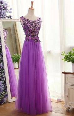 Long Tulle Prom Dress,Lace Appliques Beads Prom Gowns,Court Train Evening Gowns, Prom Dress Prom Dresses