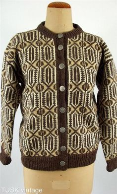 Vintage Norwegian 100 Virgin Wool Knit Brown Cream Pattern Cardigan. Husfliden 258