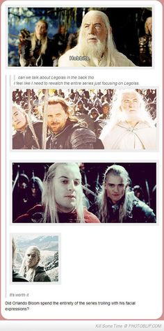 """""""Can we talk about Legolas in the back tho"""" Going to rewatch all the movies focusing on him the whole time. Haha!"""