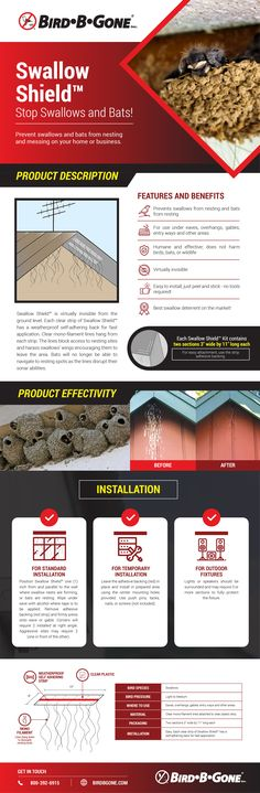 Swallow Shield Swallow and Bat Deterrent Swallow Bird, How To Remove, How To Apply, Data Sheets, Entry Ways, Swallows, Installation Instructions, Nests