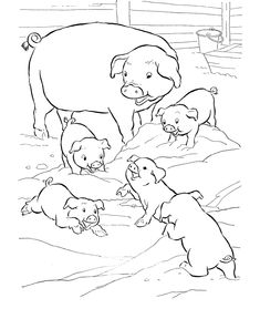 Farm animal coloring page | Pigs play in the mud